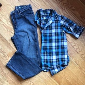 Boys jeans and plaid button up shirt